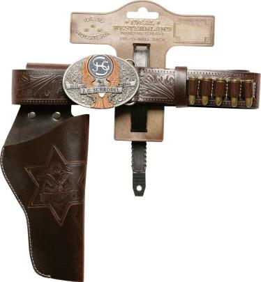 "J.G.Schrödel Cowboygürtel, Lederimitatgütel, Westerngürtel ""Marshall"" 135 cm, 1 Holster, in Tester Verpackung"