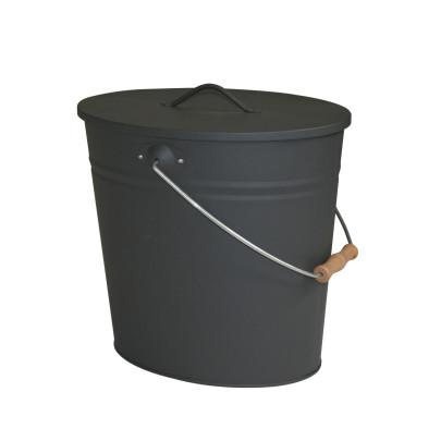 KaminoFlam® Ascheneimer, Kohleneimer, Kohlekorb, mit Deckel, oval, anthrazit, 24 l, 40 x 35 x 28 cm