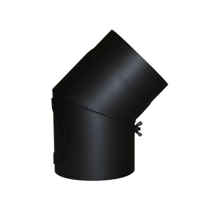KaminoFlam® Bogen, Uni-Knie für Ofenrohre 45 Grad Senotherm schwarz 2 mm mit Tür 150 mm
