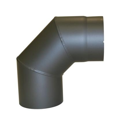 KaminoFlam® Bogen, Uni-Knie für Ofenrohre 90 Grad Senotherm gussgrau 2 mm ohne Tür 150 mm