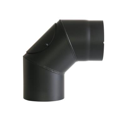 KaminoFlam® Bogen, Uni-Knie für Ofenrohre 90 Grad Senotherm schwarz 2 mm mit Tür 150 mm