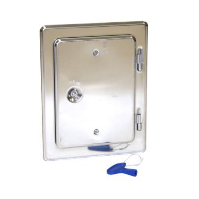 KaminoFlam® - Kamintür Edelst.V2A4-Kant Verschluss ink.SchlüsselAbmessung 225x285mm Öffnung 140x200 mm