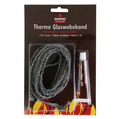 KaminoFlam® - Thermo Glasgewebeband, Glaswebeband, Ofendichtband, 10x3mm, 2m Länge, mit Kleber