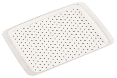 Kesper Anti-Rutsch Serviertablett aus Kunststoff, 35 x 26 x 2 cm, mit Anti-Rutsch-Noppen, rutschhemmende Unterseite, leicht erhöhter Rand, in weiß