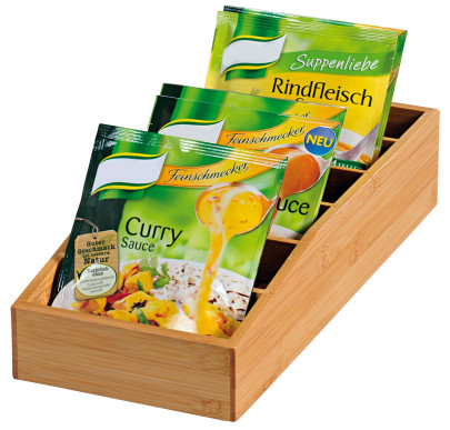 Kesper Aufbewahrungsbox aus Bambus, 15 x 35 x 10 cm, FSC-zertifizierte Holzbox für Suppen- und Soßentüten, auch für Tee geeignet