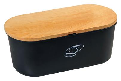 Kesper Brotbox aus Melamin, 33,5 x 18 x 14 cm, oval, mit FSC-zertifiziertem Bambusdeckel, 2in1 - Deckel und Schneidbrett, in schwarz