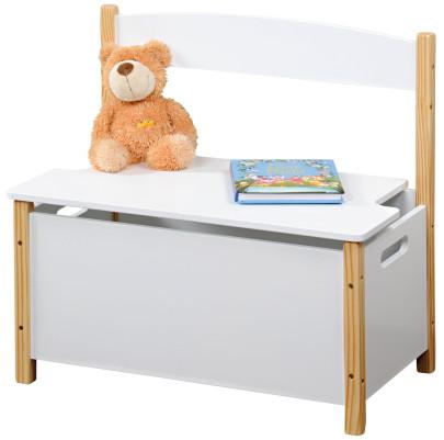 Kesper Kindersitzbank mit Sitzfläche zum Aufklappen, 60 x 34,5 x H56 cm, FSC, weiß lackiert