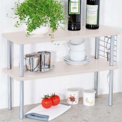 Kesper Küchen-Regal 2 Ebenen, 55 x 38 x 20 cm, Küchen Ablage,  Spülbecken-Regal/-Schrank, Aufbewahrungs Schränkchen,  Metall-Gestell/-Gitter, Holz weiß ...