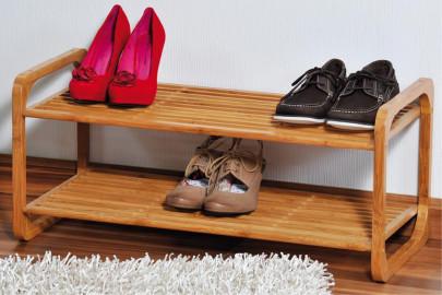 Kesper Schuhregal, Schuhablage, Schuhaufbewahrung, mit 2 Ebenen, aus Bambus, Maße: ca. 745 x 330 x 330 mm