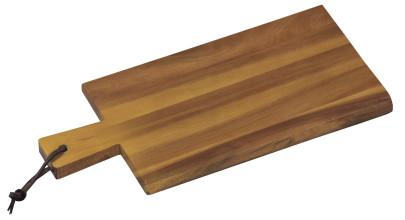 Kesper Servierbrett aus Akazienholz, FSC-zertifiziert, mit Griff und Schlaufe, 29 x 14 x 1,5 cm