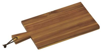 Kesper Servierbrett aus Akazienholz, FSC-zertifiziert, mit Griff und Schlaufe, 35 x 18 x 1,5 cm