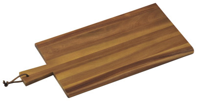 Kesper Servierbrett aus Akazienholz, FSC-zertifiziert, mit Griff und Schlaufe, 45 x 22 x 1,5 cm