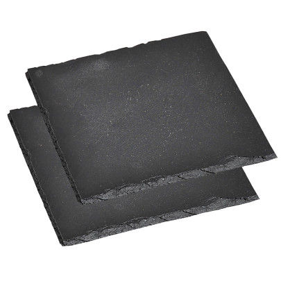 4 Stück Kesper Servierplatte, Schieferplatte, Buffet-Platte, (2 x 2er Pack), geölt, Maße: ca. 200 x 200 mm, in schwarz 200   Anzahl: 4 Stück