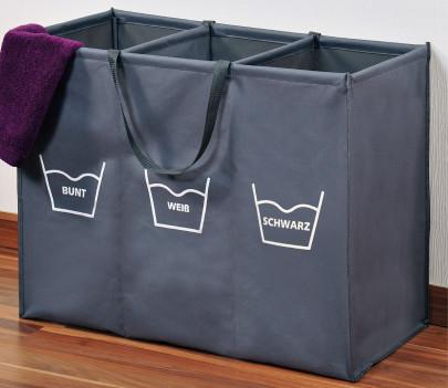 Kesper Wäschesortierer aus Polyester mit 3 Kategorien, faltbar, 75 x 60 x 35 cm