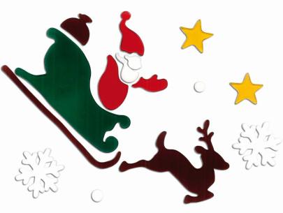 MagicGel Fensterbilder Weihnachten - Rentier mit Nikolaus im Schlitten (18 x 19 cm), Fensterdeko für das Basteln mit Kindern