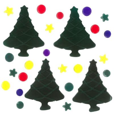 MagicGel Fensterbilder Weihnachten - Weihnachtsbäume, Fensterdeko, Spiegeldeko