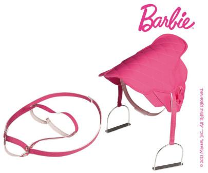 Mattel Barbie-Sattel in pinkfarbenem Steppdesig...