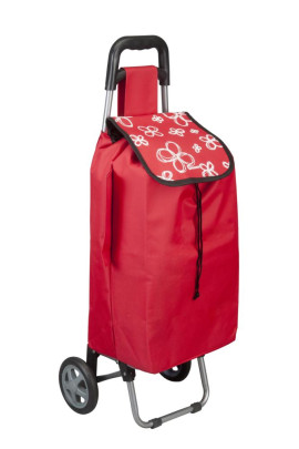 Metaltex Daphne Shopping-Trolley, Einkaufstasche mit Regenschirmtasche, Rollen und Standfuß in rot, 40 Liter