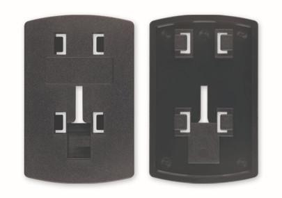 Richter Adaptersystem 4-Krallen Rastersystem und ein großes Rasterloch auf der Rückseite