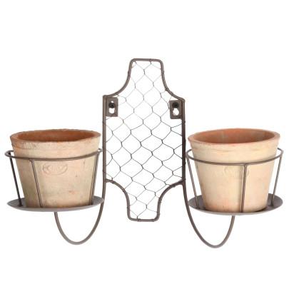 Wandrahmen aus Eisen, mit vier Töpfen, schwarz/braun (Kopie)
