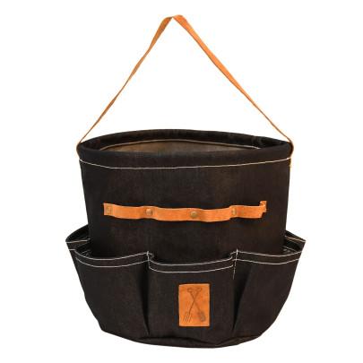Rivanto® Denim Gartengerätetasche rund aus Denim (80% Baumwolle/20% Polyester)/Schweineleder, 29,3 x 29,3 x 25cm,
