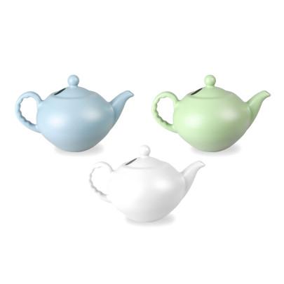 Rivanto® Gießkanne Teekanne im Vintage Design, Größe XL, farbig sortiert, grün/blau/weiß, 41,3 x 27,3 x H25,5 cm, Gartengießkanne