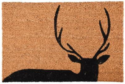 Rivanto® Kokosmatte aus Kokosfaser/Kunststoff, in Hirsch Optik, 60 x 40 x 1,6 cm, Türvorleger, Fußabstreifer, braun