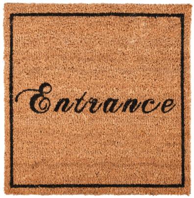 Rivanto® Kokosmatte 'Entrance' aus Kokosfaser/Kunststoff, 45 x 45 x 1,6 cm quadratischer Türvorleger, Fußabstreifer, braun