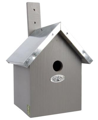 Rivanto® Nistkasten Blaumeise mit Zinkdach 18 x 19 x H31 cm, Vogelhaus grau Anzahl: 1 Stück