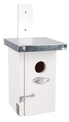 Rivanto® Nistkasten Zaunkönig mit Zinkdach 14 x 11 x H25 cm, Vogelhaus weiß mit Türchen Anzahl: 1 Stück