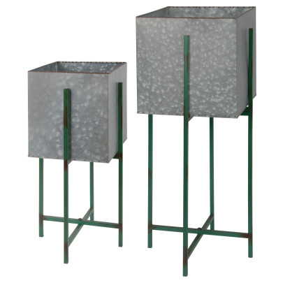 *NEU*: Pflanzkübel aus Metall, rechteckig, 2er-Set, silber (Kopie)