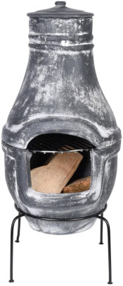 *NEU*: Terrassenofen aus Terracotta, grau (Used Look)