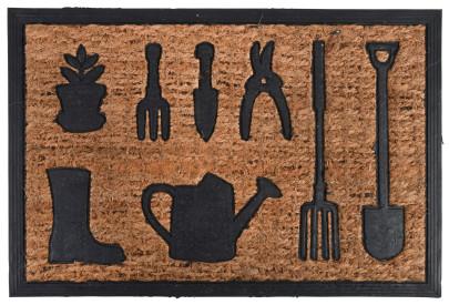 Rivanto® Türmatte Gartenwerkzeuge, 60,8 x 40,3 x 0,8 cm, aus Kokosfaser/Kunststoff, Türvorleger, Fußabstreifer, braun/schwarz