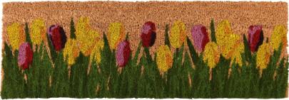 Rivanto® Türmatte mit Tulpen-Motiv aus Kokosfasern, Breite 75,5 x Länge 25,5 cm, 2 cm dick, Türvorleger, Fußabstreifer, Schuhmatte aus Naturfaser