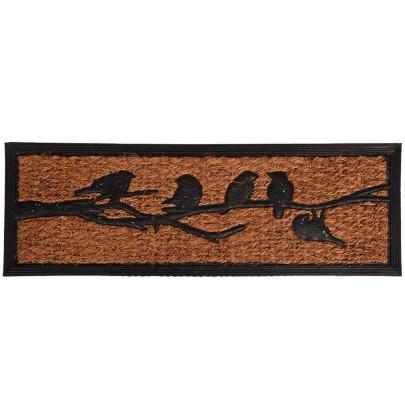 Rivanto® Türmatte Vögel auf Ast, Gummi mit Kokosfaser, L25 x B75 x H1 cm, rechteckige Stufenmatte, Tür Vorleger, Fussabstreifer, Schuhmatte, grau