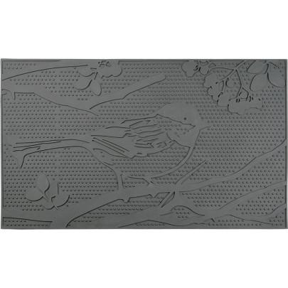 Rivanto® Türmatte Vogel, L 45 x B 75 x H 0,8 cm, Türmatte rechteckig aus PVC, Tür Vorleger, Fussabstreifer, Schuhmatte, grau