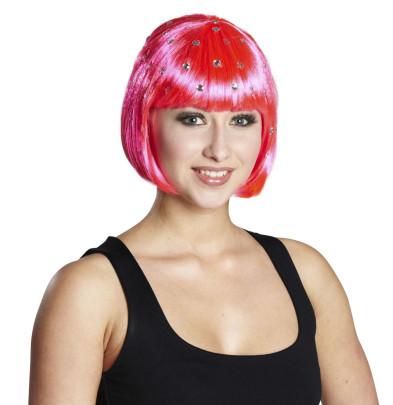 RUBIE´S Faschingsaccessoire - Diamond Trixy Perücke, in neon-pink