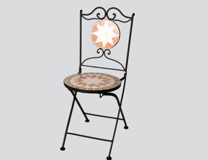 SIENA GARDEN Klappstuhl Finca, 43 x 43 x 92 cm, klappbar Gestell schwarz mit Mosaik-Sitzfläche