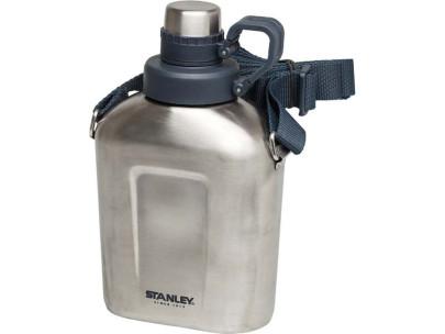Stanley Adventure Steel Canteen, 1 Liter, 18/8 Edelstahl, Clip-Lock Deckelfixierung, 45 mm Öffnung, Trageriemen