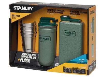 Stanley Adventure, Steel Spirits Gift Set, Taschenflasche, Pintchen-Set, 18/8 Edelstahl, Hammerschlag grün