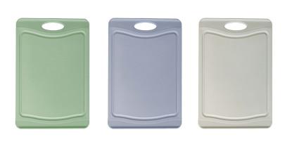 Steuber 3er Schneidebrett Set mit Saftrinne, 3 Farben, 25 x 14 cm, beidseitig verwendbar, messerschonend, Anti-Rutsch-Oberfläche