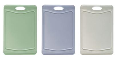 Steuber 3er Schneidebrett Set mit Saftrinne, 3 Farben, 29 x 20 cm, beidseitig verwendbar, messerschonend, Anti-Rutsch-Oberfläche