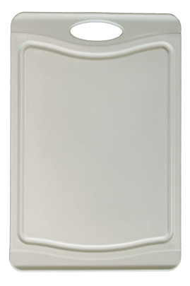 Steuber Schneidebrett mit Saftrinne, 37 x 25 cm, beidseitig verwendbar, messerschonend, Anti-Rutsch-Oberfläche, grau 36,8 x 25,4 cm | Pastell-grau