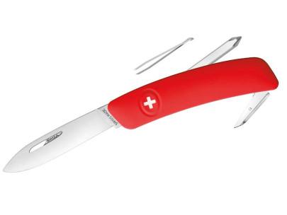 SWIZA Schweizer Messer D02, Stahl 440, Klingensperre, rote Anti-Rutsch-Griffschalen, 6 Funktionen