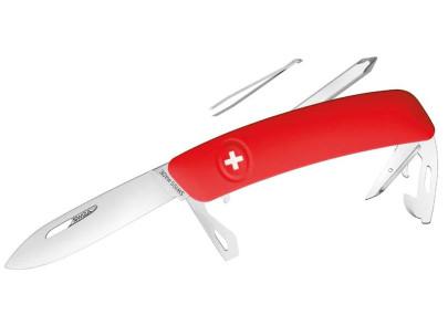 SWIZA Schweizer Messer D04, Stahl 440, Klingensperre, rote Anti-Rutsch-Griffschalen, 11 Funktionen