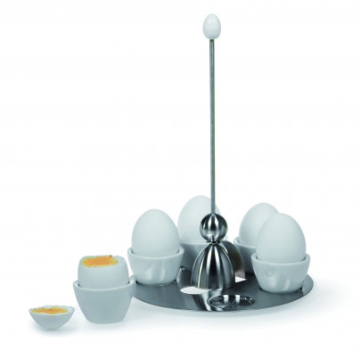 Take2 Miro Clack-Eiertablett, Frühstückstablett, Inkl. 5 Eierbechern und Eier Clack
