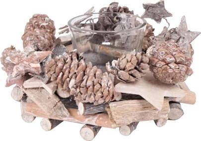 TISCHLICHT FOREST, Zapfen, Naturhölzer, Rinde