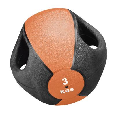 Trendy Sport Esfera Ball, Rehaball, Fitnessball, Gewichtsball mit Griffen, 3,0 kg, Ø 23 cm, orange