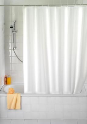 Wenko Duschvorhang Uni Weiß - hochwertiges Textilgewebe, 180 x 200 cm