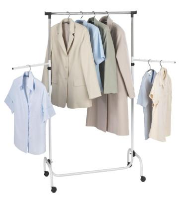 Wenko Kleiderständer - mit 2 Schwenkarmen, fahrbar, höhenverstellbar, Chrom, 87 x 165 x 44 cm, weiß-silber